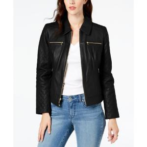 コールハーン Cole Haan レディース レザージャケット アウター Leather Moto Jacket Black|fermart-shoes