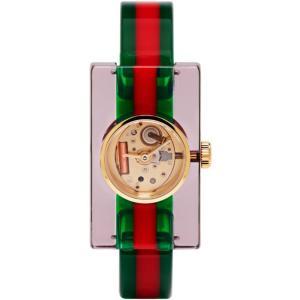 グッチ レディース 腕時計 Red & Green Plexiglass Skeleton Watch|fermart-shoes