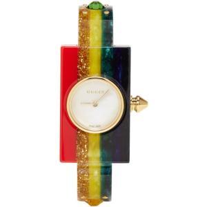 グッチ レディース 腕時計 Multicolor Rainbow Plexiglass Watch|fermart-shoes