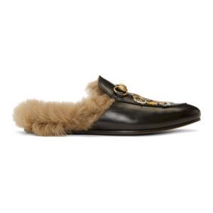 グッチ メンズ スリッパ シューズ・靴 Black Wool-Lined Tiger Princetown Slippers|fermart-shoes