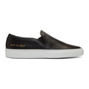 コモン プロジェクト Woman by Common Projects レディース スリッポン・フラット シューズ・靴 Black Leather Slip-On Sneakers|fermart-shoes