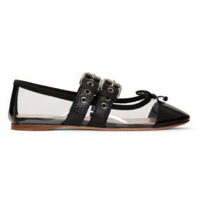 ミュウミュウ Miu Miu レディース スリッポン・フラット シューズ・靴 Transparent & Black Double Bands Ballerina Flats|fermart-shoes