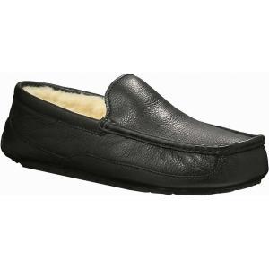 アグ Ugg メンズ スリッパ シューズ・靴 Ascot Leather Slipper Black|fermart-shoes