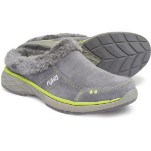 ライカ ryka レディース スリッポン・フラット シューズ・靴 Luxury Slip-On Mules with Faux-Fur Trim Grey/Green fermart-shoes