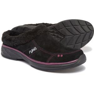 ライカ ryka レディース スリッポン・フラット シューズ・靴 Luxury Slip-On Mules with Faux-Fur Trim Black/Berry Lea fermart-shoes