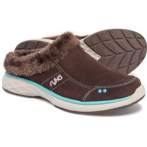 ライカ ryka レディース スリッポン・フラット シューズ・靴 Luxury Slip-On Mules with Faux-Fur Trim Chesnut/Bluebird fermart-shoes