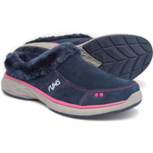 ライカ ryka レディース スリッポン・フラット シューズ・靴 Luxury Slip-On Mules with Faux-Fur Trim Navy/Pink fermart-shoes