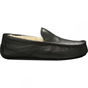 アグ UGG メンズ スリッパ シューズ・靴 Ascot Slippers Black Leather|fermart-shoes
