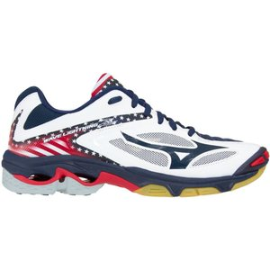 ミズノ レディース シューズ・靴 バレーボール Mizuno Wave Lightning Z3 Stars and Stripes Volleyball Shoes Navy/White|fermart-shoes