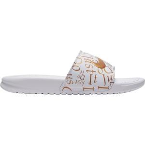 ナイキ Nike レディース サンダル・ミュール シューズ・靴 Benassi Just Do It Print Slides White/Gold Metallic|fermart-shoes