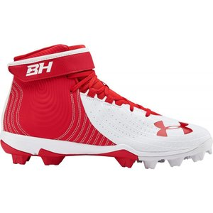 アンダーアーマー Under Armour メンズ 野球 スパイク シューズ・靴 Harper 4 Mid RM Baseball Cleats Red/White|fermart-shoes
