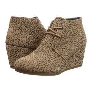 トムズ レディース ブーツ シューズ・靴 Desert Wedge Cheetah Suede Printed|fermart-shoes