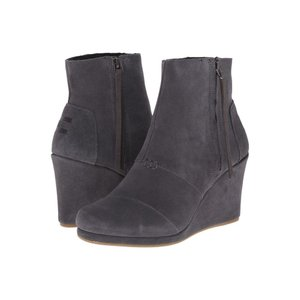 トムズ レディース ブーツ シューズ・靴 Desert Wedge High Dark Grey Suede|fermart-shoes