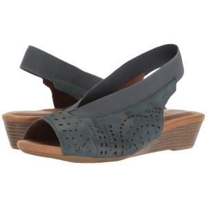 ロックポート レディース サンダル・ミュール シューズ・靴 Cobb Hill Judson Peep Sling Blue Nubuck|fermart-shoes