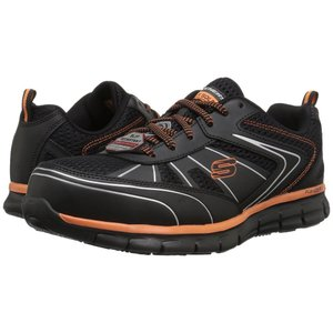 スケッチャーズ メンズ スニーカー シューズ・靴 Synergy - Fosston Black Leather/Mesh/Orange Trim|fermart-shoes