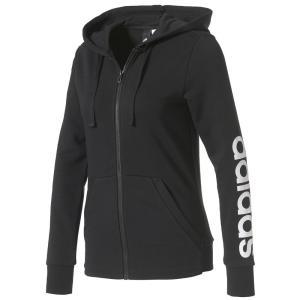 アディダス adidas レディース パーカー トップス Essential Full-Zip Hoodie Black/White|fermart-shoes