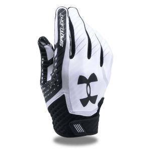 アンダーアーマー Under Armour ユニセックス グローブ アメリカンフットボール Adult Spotlight Football Gloves Black/White|fermart-shoes