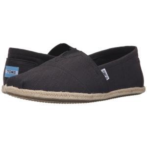 トムズ メンズ ローファー シューズ・靴 Rope Sole Classics Washed Black Linen Rope Sole|fermart-shoes