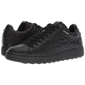 コーチ COACH メンズ スニーカー シューズ・靴 Signature C Leather Deboss C101 Low Top Sneaker Black|fermart-shoes