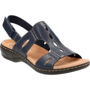 クラークス レディース サンダル・ミュール シューズ・靴 Leisa Lakelyn Cutout Slingback Navy Leather|fermart-shoes
