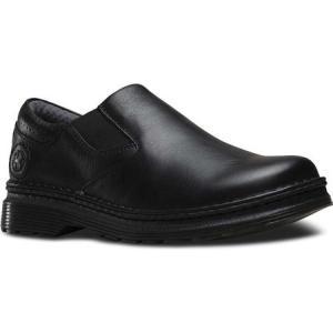 ドクターマーチン メンズ スリッポン・フラット シューズ・靴 Robson Orson Plain Toe Slip On Shoe Black Overdrive|fermart-shoes
