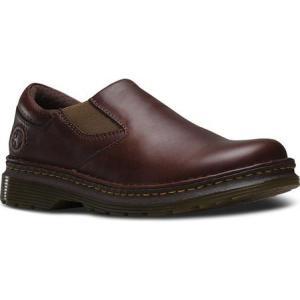 ドクターマーチン メンズ スリッポン・フラット シューズ・靴 Robson Orson Plain Toe Slip On Shoe Dark Brown Overdrive|fermart-shoes