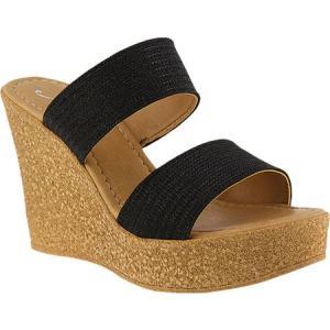 アズラ レディース サンダル・ミュール シューズ・靴 Fiora Wedge Sandal Black Synthetic|fermart-shoes