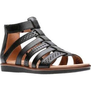クラークス レディース サンダル・ミュール シューズ・靴 Kele Lotus Gladiator Sandal Black Full Grain Leather|fermart-shoes