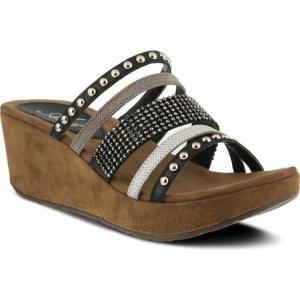 アズラ レディース サンダル・ミュール シューズ・靴 Oletha Ornamented Slide Sandal Black Multi Leather|fermart-shoes
