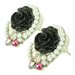 ケイトマリー レディース イヤリング・ピアス ジュエリー・アクセサリー Fashion Earrings Rose 5 Black|fermart-shoes