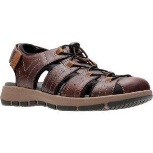 クラークス Clarks メンズ サンダル シューズ・靴 Brixby Cove Fisherman Sandal Dark Brown Full Grain Leather|fermart-shoes