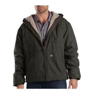 ディッキーズ メンズ ジャケット アウター Sanded Duck Sherpa Lined Hooded Jacket Black Olive|fermart-shoes