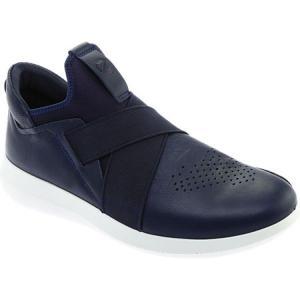 エコー メンズ スリッポン・フラット シューズ・靴 Scinapse Band Slip-On Sneaker True Navy Yak Leather|fermart-shoes