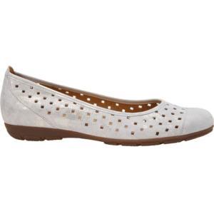 ガボール Gabor レディース シューズ・靴 スリッポン 44-169 Hovercraft Perforated Ballerina Flat Puder Caruso Metallic Leather fermart-shoes