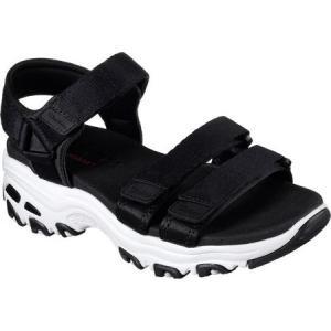 スケッチャーズ レディース サンダル・ミュール シューズ・靴 D'Lites Fresh Catch Ankle Strap Sandal Black|fermart-shoes
