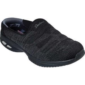 スケッチャーズ Skechers レディース クロッグ シューズ・靴 Relaxed Fit Commute Knitastic Sneaker Clog Black|fermart-shoes