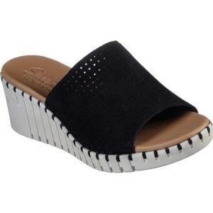 スケッチャーズ Skechers レディース サンダル・ミュール ウェッジソール スライドサンダル シューズ・靴 Pier Ave Urban Escape Slide Wedge Sandal Black|fermart-shoes