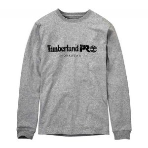 ティンバーランド メンズ 長袖Tシャツ トップス Core Long Sleeve T-Shirt - Regular Light Grey Heather|fermart-shoes