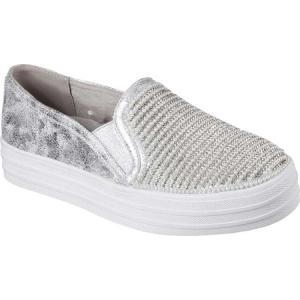 スケッチャーズ レディース スリッポン・フラット シューズ・靴 OG 97 Double Up Shiny Dancer Slip On Sneaker Silver|fermart-shoes