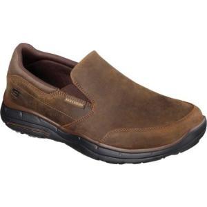 スケッチャーズ メンズ スリッポン・フラット シューズ・靴 Relaxed Fit Glides Calculous Slip On Dark Brown fermart-shoes