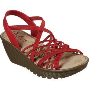 スケッチャーズ Skechers レディース サンダル・ミュール シューズ・靴 Parallel Crossed Wires Strappy Wedge Sandal Red|fermart-shoes
