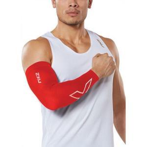 ツータイムズユー メンズ サポーター フィットネス・トレーニング Flex Compression Run Arm Sleeve Red/White|fermart-shoes