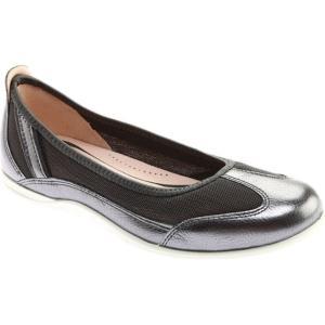 エコー レディース シューズ・靴 Bluma Summer Ballerina Dark Shadow Leather/Dark Shadow Textile|fermart-shoes