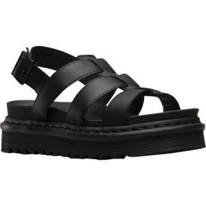 ドクターマーチン レディース サンダル・ミュール シューズ・靴 Yelena Strappy Sandal Black Hydro Leather|fermart-shoes