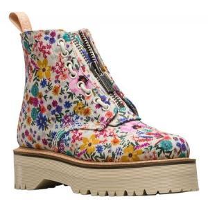 ドクターマーチン Dr. Martens レディース ブーツ シューズ・靴 Sinclair 8-Eye Jungle Boot Bone/Mallow Pink Wanderlust Fine Canvas|fermart-shoes