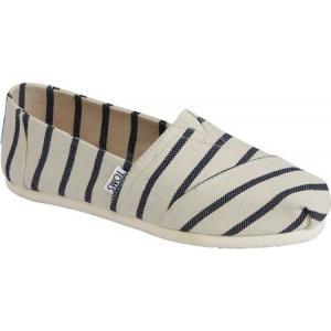 トムス レディース スリッポン・フラット シューズ・靴 Seasonal Classic Alpargata White/Navy Riviera Stripe fermart-shoes