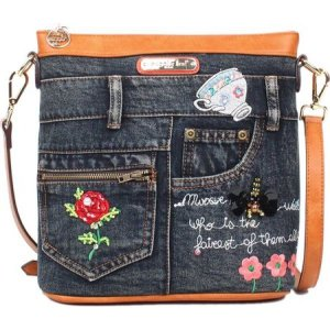 ニコルリー レディース ショルダーバッグ バッグ Riley Denim Embroidery Crossbody Bag Denim Embroidery|fermart-shoes