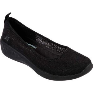 スケッチャーズ Skechers レディース スリッポン・フラット ウェッジソール シューズ・靴 Arya Airy Days Wedge Skimmer Black/Black|fermart-shoes