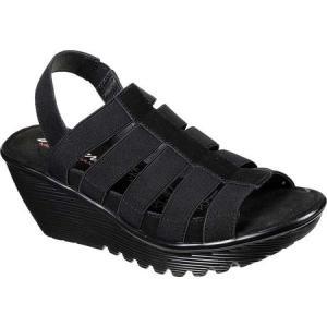 スケッチャーズ Skechers レディース サンダル・ミュール ウェッジソール シューズ・靴 Parallel Glencoe Wedge Sandal Black/Black|fermart-shoes