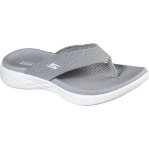 スケッチャーズ Skechers レディース ビーチサンダル シューズ・靴 On the GO 600 Sunny Flip Flop Gray|fermart-shoes